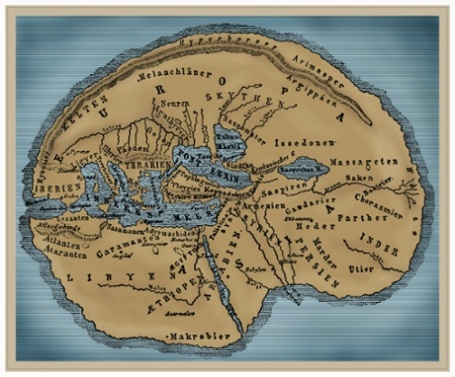 cartography, maps, map after Herodotus of Halicarnassus, (circa 484 BC - 425 BC), reconstruction, later coloured, 19th century,