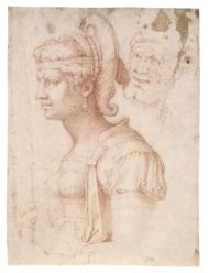 Cabeza idealizada de mujer (Zenobia), copia del s. XVI de un dibujo de Miguel Ángel