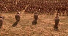 Recreación de un ataque de elefantes púnicos contra las legiones romanas