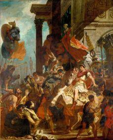 En La justicia de Trajano (1840), Delacroix recrea este episodio en el que Trajano, antes de partir a la guerra, atiende a una mujer que pide justicia para su hijo. / Album