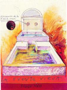 Recreación de cómo debió ser la Fuente Vieja en el siglo XVIII, según Castro.