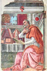 'San Agustín en su gabinete', un fresco de Botticelli ubicado en la iglesia Ognissanti de Florencia.